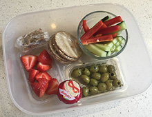Healthy lunch with olives
