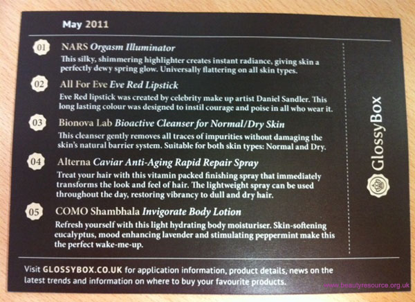 Glossybox product info card