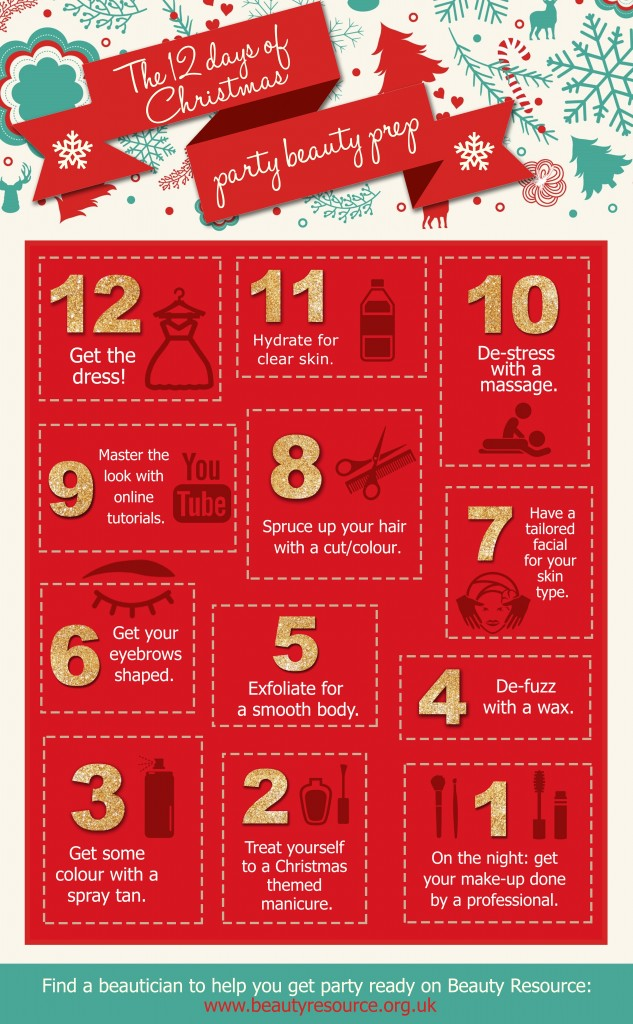12 days of Christmas beauty prep - infographic