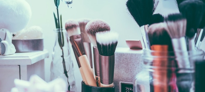 Make up brushes on dressing table