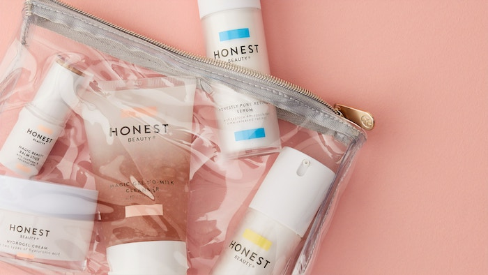 Skincare and cosmetics in a bag