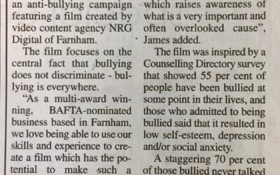 Breaking the Barriers of Bullying campaign video featured in Farnham Herald