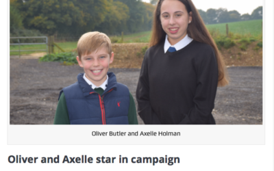 Oliver Butler, left, and Axelle Holman, right, start in anti-bullying campaign film.