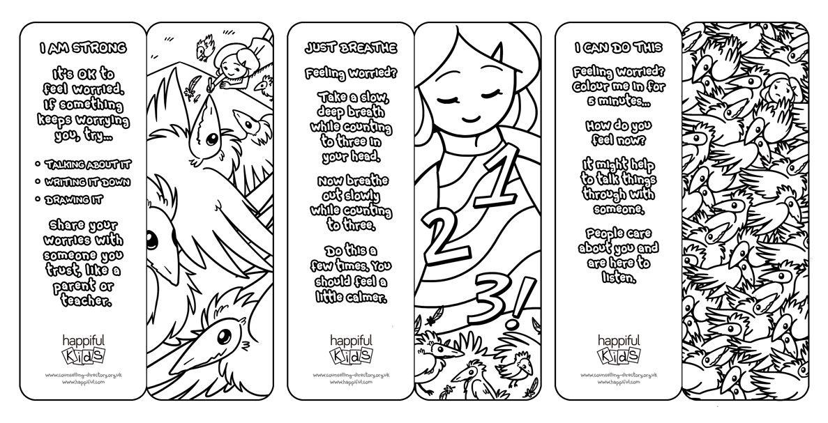 Straightforward way to help introduce children to mindfulness our mindful colouring bookmarks each come with a simple positive message and