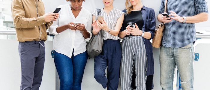group on their phones