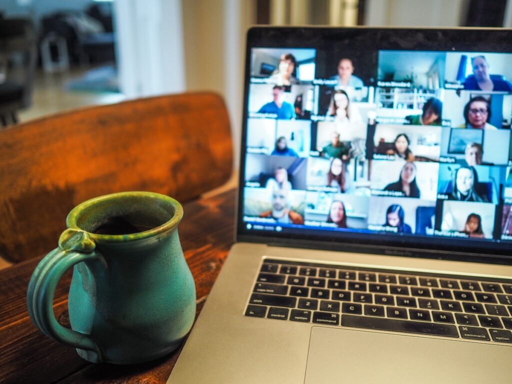 Image of a group video call on a laptop