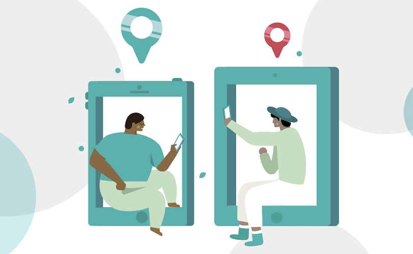Illustration of two people searching Counselling Directory on their phones