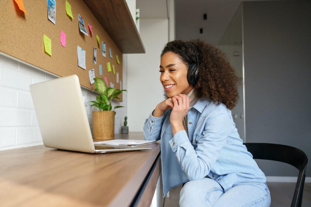 Woman on a webinar