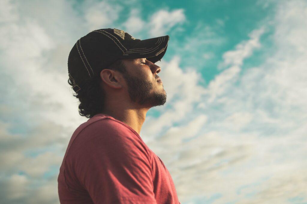 Man relaxing looking at sky