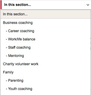Life Coach Directory areas screenshot