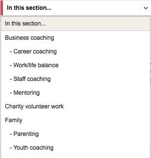 Life Coach Directory areas screenshot