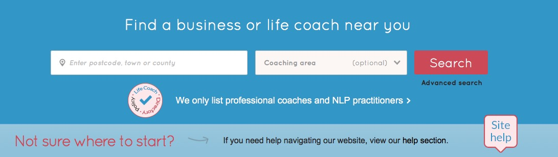 Life Coach Directory search bar