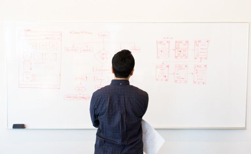 Man working at whiteboard