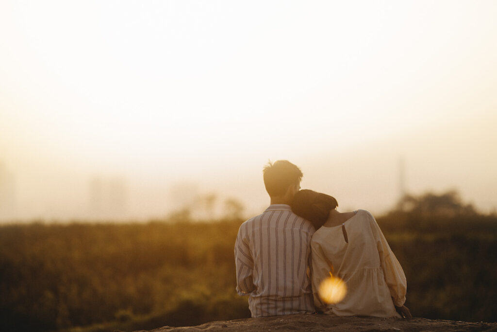 couple looking at sunlight