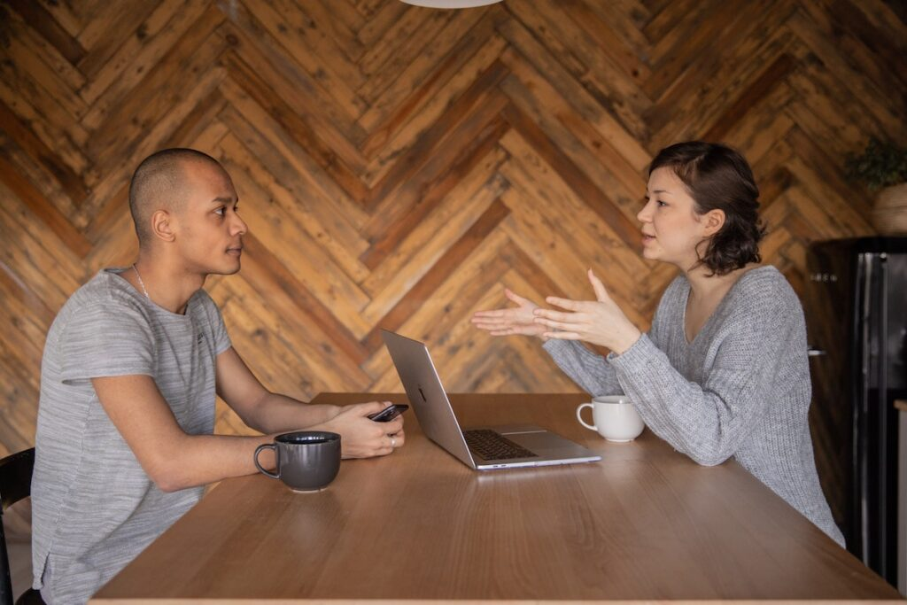 Man and woman negotiating