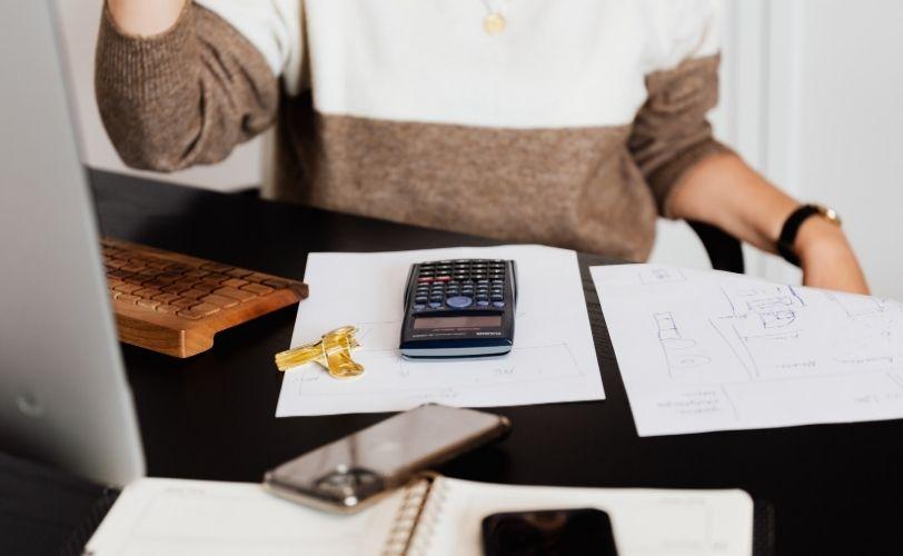 woman sorting finances