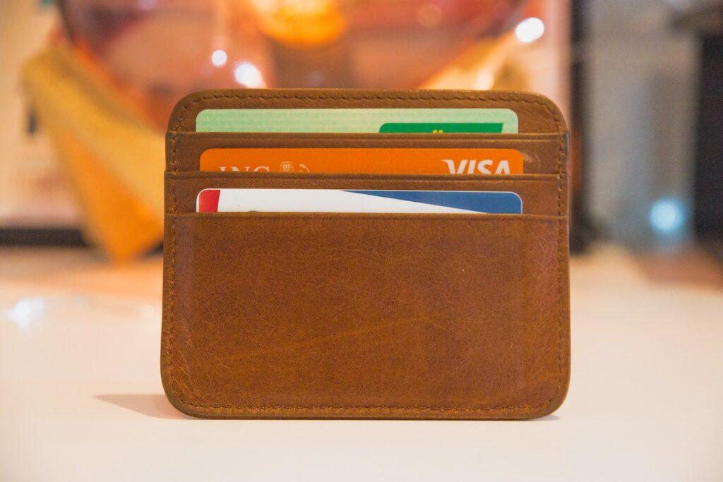 Brown wallet with cards inside