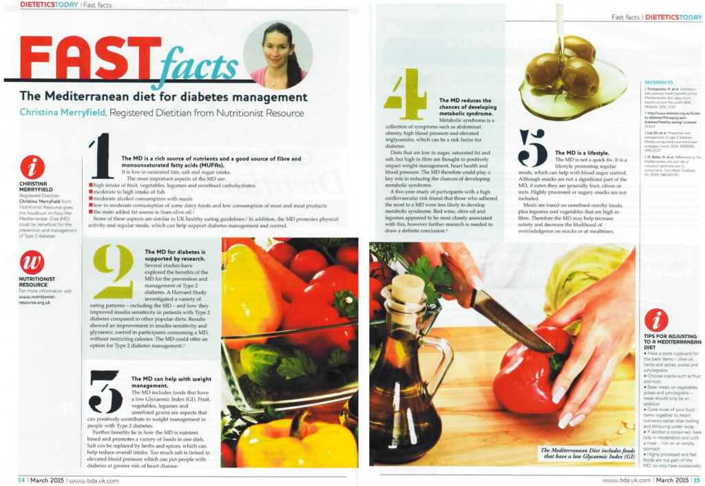 Nutritionist Resource featured in Dietetics Today magazine