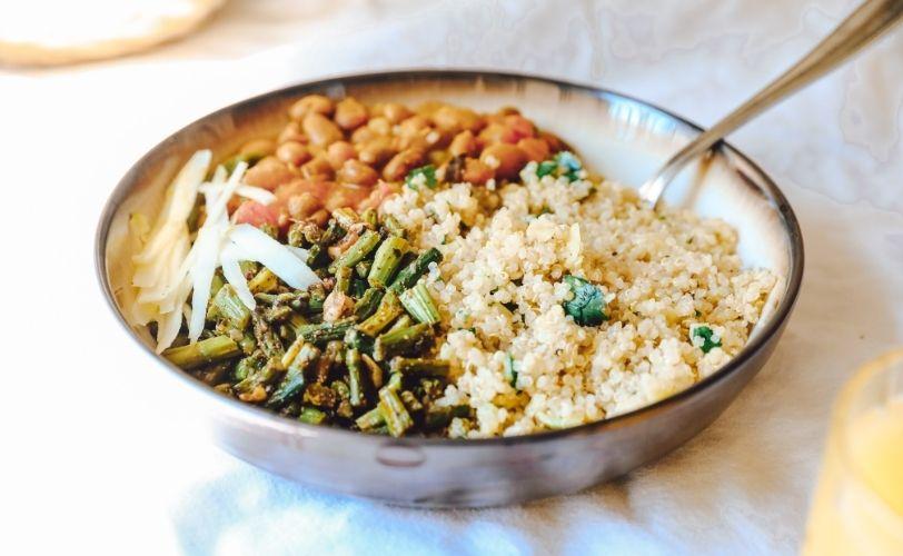 Dish of quinoa and greens