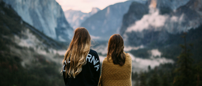 Two women looking out at horizon