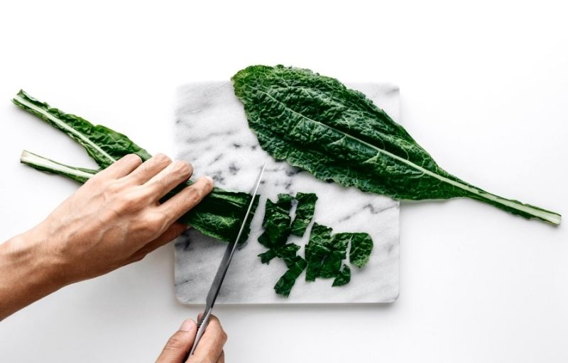 Chopping kale