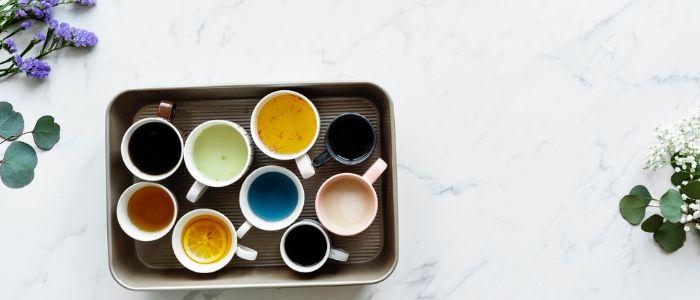 cups of herbal teas