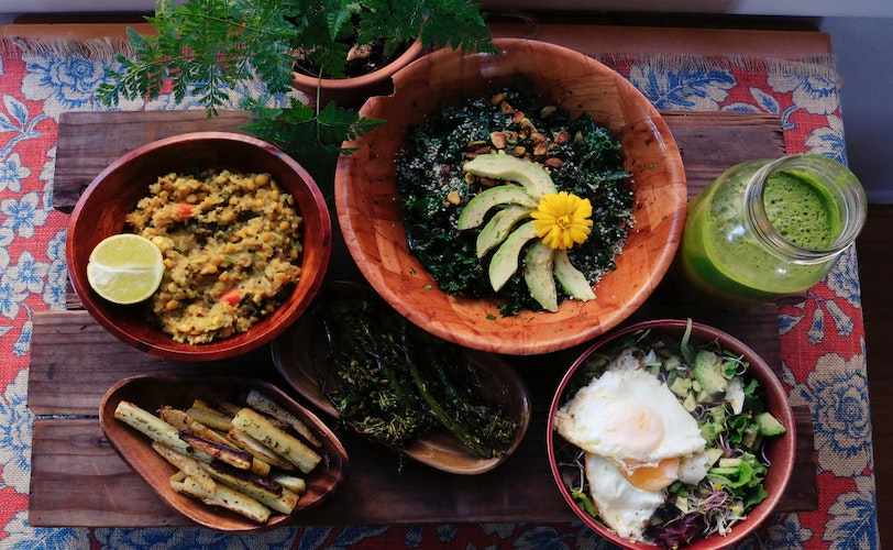 Selection of plates featuring Ayurvedic diet