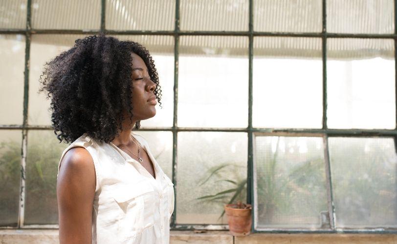 Woman practising mindfulness