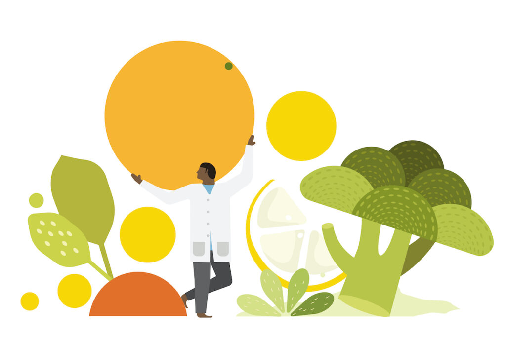 Illustration of nutritionist with vegetables