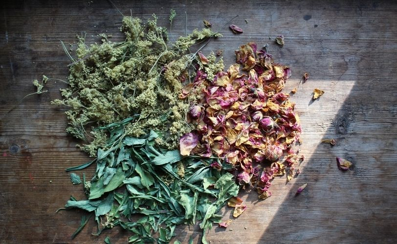 Selection of dried herbs on floor