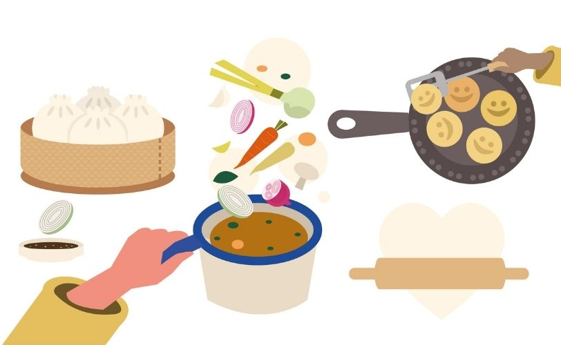 Illustration of cooking food in pans