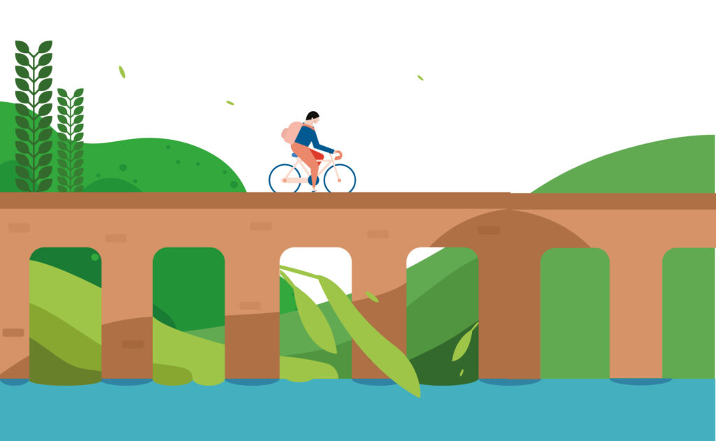 Illustration of man biking across bridge