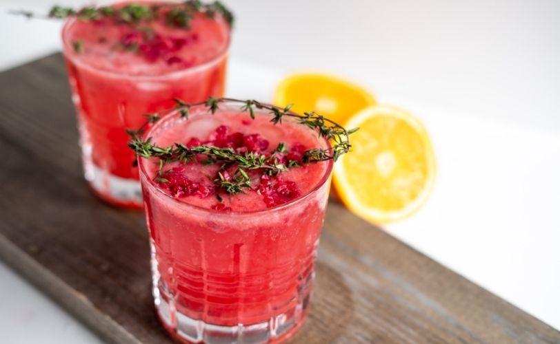 Sparkling glasses of strawberry