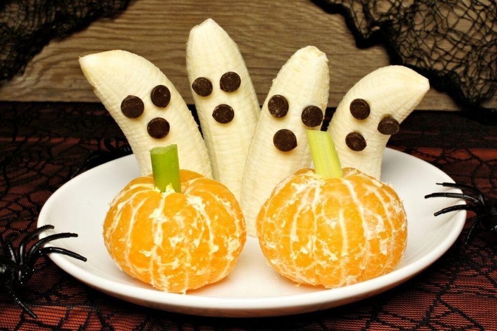 A plate of Halloween banana lollies