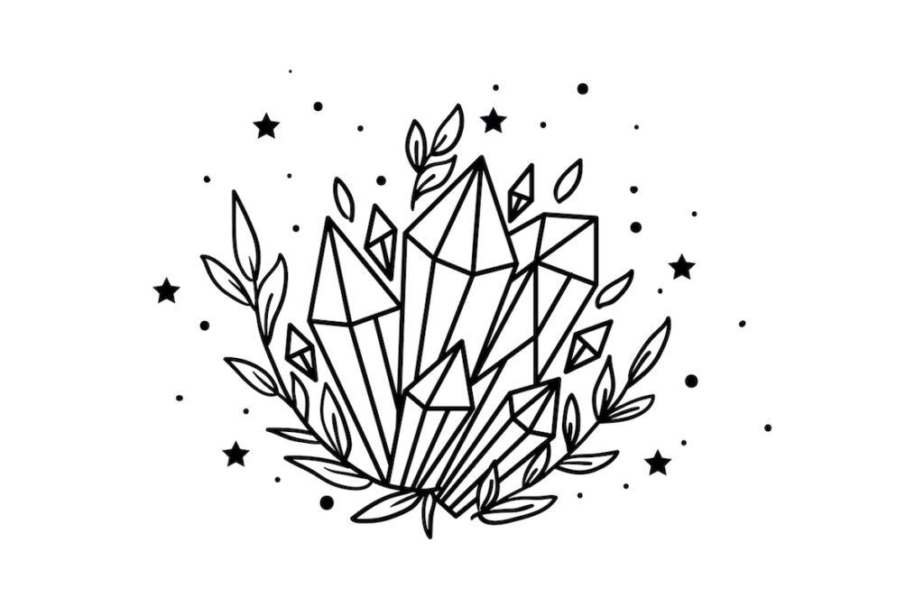 Mystical crystal and stars illustration