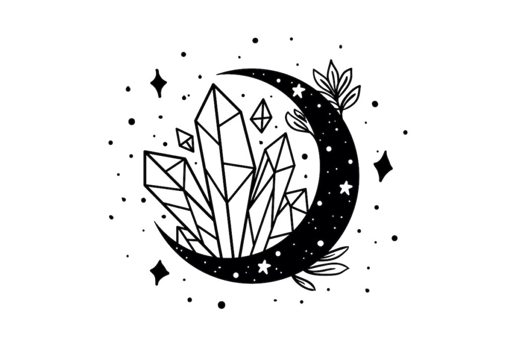Crystal and moon illustration