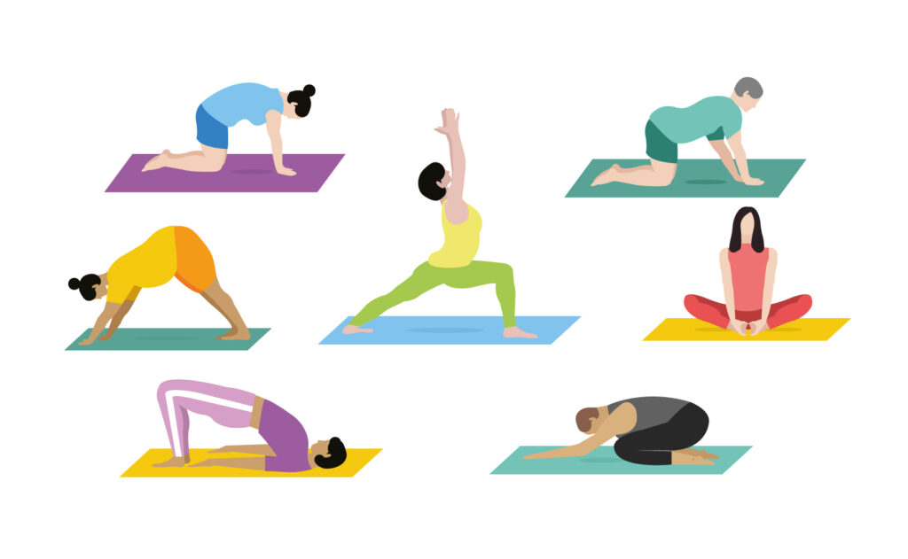 Illustrations of different yoga poses