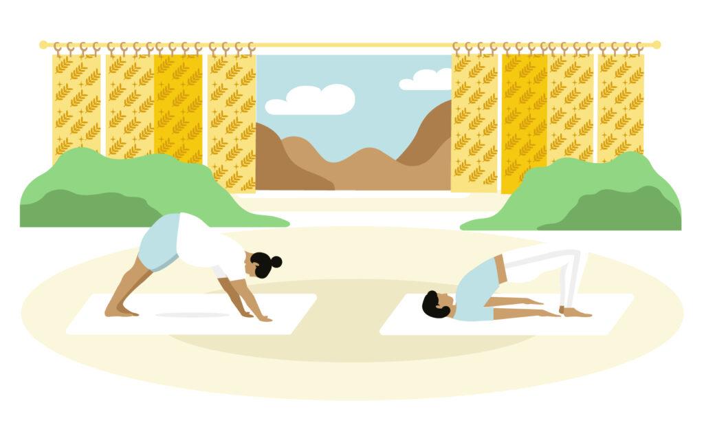 Illustration for of downward facing dog and bridge yoga poses