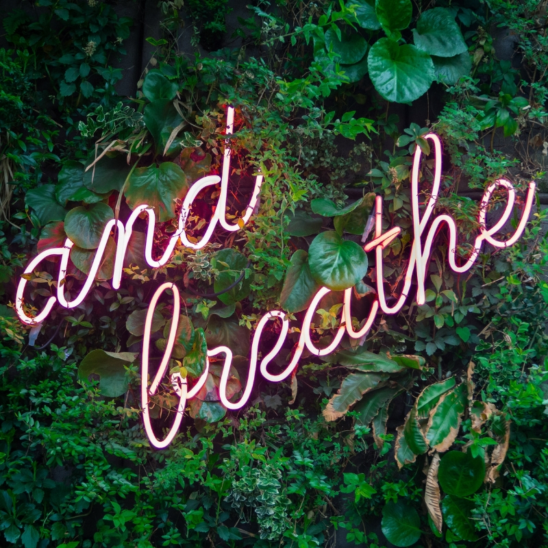A neon sign with 'and breathe' glows pink.