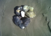 'The stone mask' <br />art in nature - beach nd stones