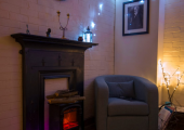 A peaceful, warming space for clients to comfortably explore their feelings
