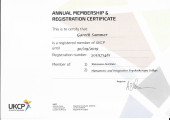 UKCP Accredited - UK Council of Psychotherapy membership certificate