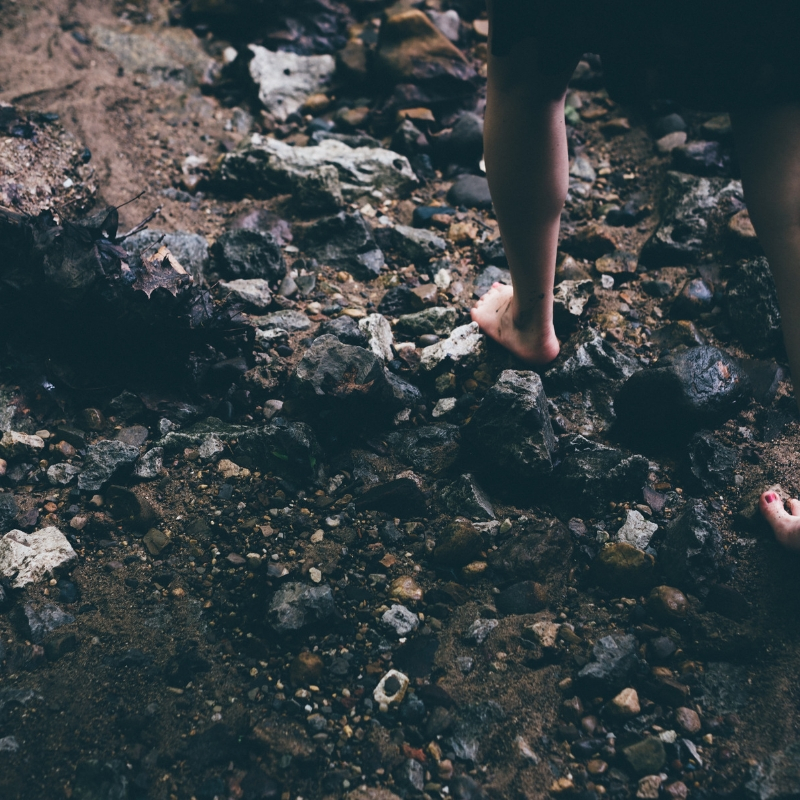 foot on rocks