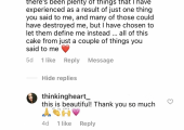Feedback from a former client on my Instagram.