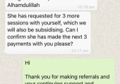 Feedback from Seeking Sakoon, Luton who refer their clients to me.