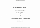 Master of Science in Transactional Analysis Psychotherapy