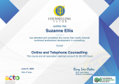 Have recently undertaken and passed an 80 hour CPD course in online and telephone counselling