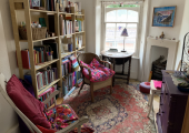 A calming, private space for indoor counselling. Social distancing is possible and there is good ventilation.