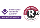 Accredited PSA register logo & BACP registration logo