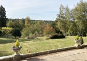 Outdoor terrace and view of gardens open for clients